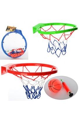 Кільце баскетбольне M 2902 м'яч, насос, 3 кольори, сітка, 27-25-4 см.