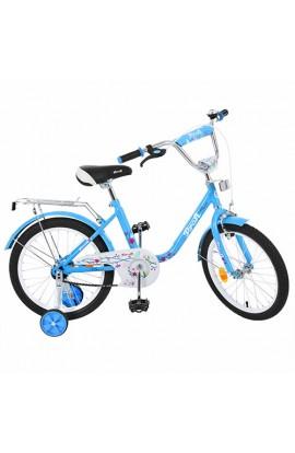 Велосипед дитячий PROF1 18д. L1884 блакитний, дзеркало, дзвінок, додаткові колеса.