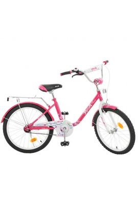 """Велосипед дитячий PROF1 L2082 20 """" дзеркало, дзвінок, підніжка, малиновий, кор."""
