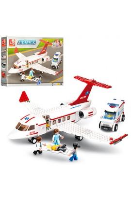 """Конструктор SLUBAN M38-B0370  """"Авіація """": швидка допомога, літак, машина, фігурки, 335 дет."""