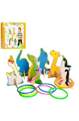 Дерев'яна іграшка Гра MD 1007 тварина на підставці 6 шт., кільця, кор., 25-23,5-4,5 см.
