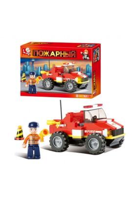 """Конструктор SLUBAN M38-B0217R  """"Пожежні """": позашляховик, фігурка рятівника, 118 дет."""