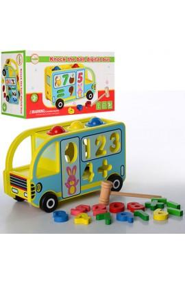 Іграшка дерев'яна Сортер MD 0912 стучалка, фігурки-цифри, кульки 3 шт., кор., 26,5-15,5-11,5 см