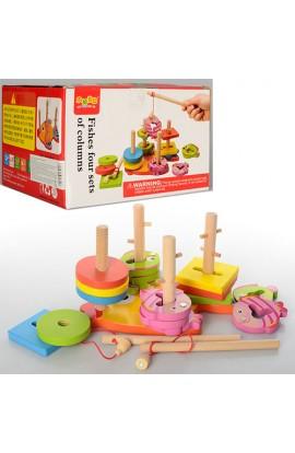 Дерев'яна іграшка Геометрика MD 0902 квадрати, кола, рибалка, кор., 20-16,5-12 см.
