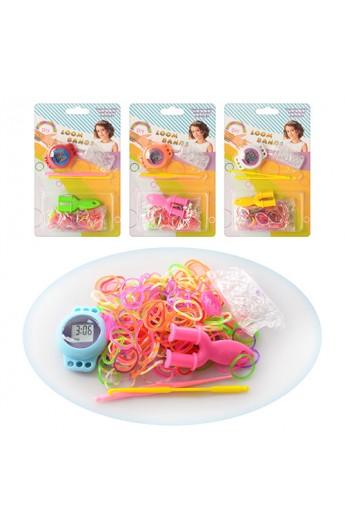 Набір для плетіння браслетів AB004 годинник, крючок, резіночки, з'єднач, лист, 11-17,5-2,5 см