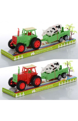 Трактор 855A-165B інерц., з причепом, тварина, 2 кольори, бліст., 32-10-8,5 см.