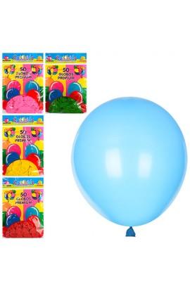 Кульки надувні MK 0011-1 50 шт., 5 кольорів, кул., 1 колір, 18,5-28-1 см.