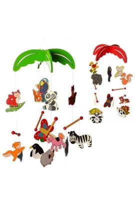 Дерев'яна іграшка Підвіска MD 0992 5 шт., тварини, мікс видів, кул., 14-20-4 см.