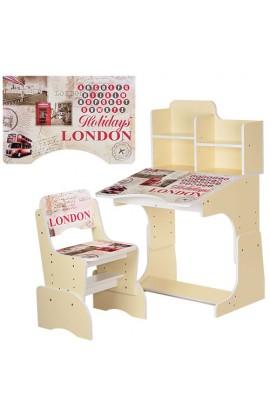 Парта B 2071-26 регул. висота, стілець, стільниця, Лондон, бежевий