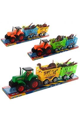 Трактор 906-277 з причепом, інерц., дінозаври, 3 кольори, бліст., 51,5-11-13,5 см.