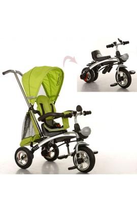 Велосипед M 3212A-3 три гумові колеса, трансформер (беговел), поворотний, зелений.