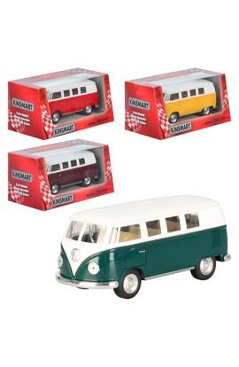 Автобус KT 5060 W мет., інерц., відчин. багажник, гумові колеса, 4 кольори, кор., 16-7-8 см.