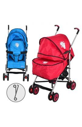 Коляска дитяча FELICE S2-1 прогулянкова, 2 кольори (блакитна, червона), колеса 8 шт., чохол на ніжки