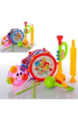 Музичні інструменти 2019A барабан, дудка, маракаси, 2 кольори, кул., 25-30-10 см.