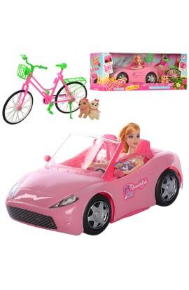 Лялька K877-30E, машинка, велосипед, тварини 2шт., кор., 55.5-21-20 см