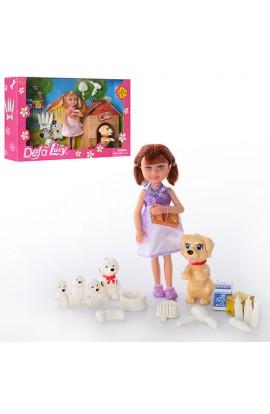 Лялька DEFA 8281, собачки, щенята, тарілка, пляшечки, 2види, кор., 27,5-17-6 см