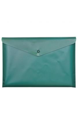 Папка-конверт А5 на кнопці, JOBMAX, непрозора, зелений