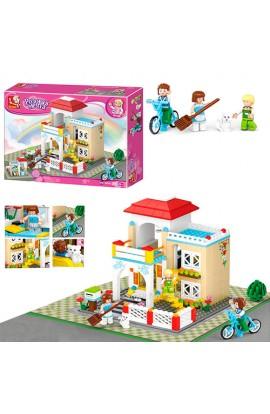 """Конструктор SLUBAN M38-B0533  """"Рожева мрія """": заміський будинок, фігурки, кіт, велосипед, 380 дет."""