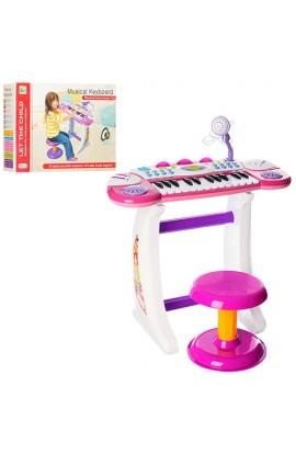 Синтезатор BB33 на ніжках, 24 клавіші, стілець, мікрофібра, запис, 8 тоннів, 2 кольори, світло, бат.
