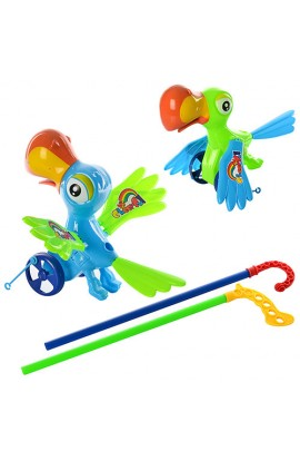 Каталка 809, палка 37см., папуга 22 см., звук, махає крилами, 2 кольори, кул., 22-19-10 см