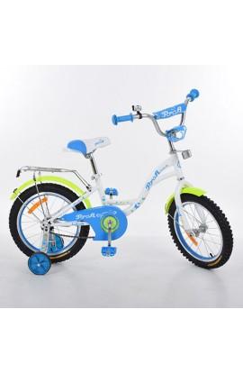 Велосипед дитячий PROF1 G1424 14'', дзвінок, додаткові колеса, білий.