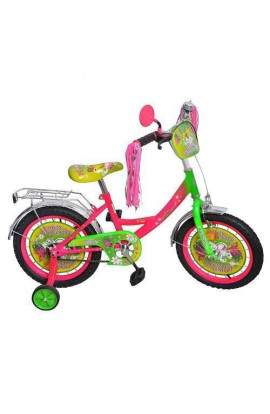 """Велосипед дитячий мульт 16 """" P 1651F-B метелик, кошик, хвостики на кермі"""
