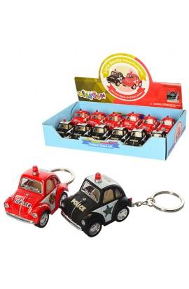 Машинка KT2001DPRK брелок, мет., інерц., 12 шт. (2 види - поліція, пожежна) в диспл., 25-13-5 см.