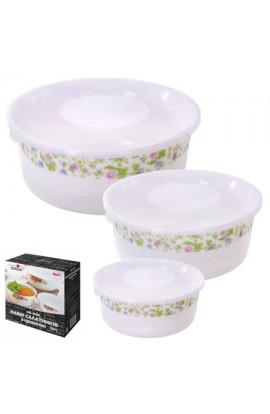 Набір салатників з кришкою склокераміка 3шт/наб, MS-1098-0816
