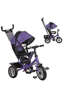 Велосипед M 3113-8A три гумові колеса, колясочний, вільний хід коліс, гальмо, підшипник, фіолетовий.