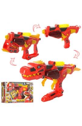 Трансформер 661-196 пістолет + динозавр, конструктор, 16 дет., муз., світло, бат., кор., 42-25-10 см