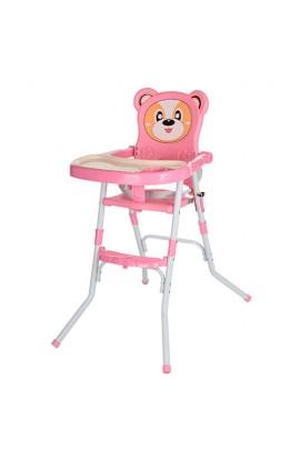 Стільчик 113-8 для годування, 2 в 1, ремінь безпеки, регул. столик, рожевий