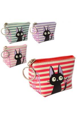 Гаманець X11563 кішка, брелок, застібка-блискавка, 4 кольори, кул., 11-8-5,5 см.