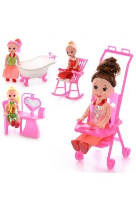 Лялька 9905-86-88 B 4 види, мебелі,  кул., 9-10-2,5 см