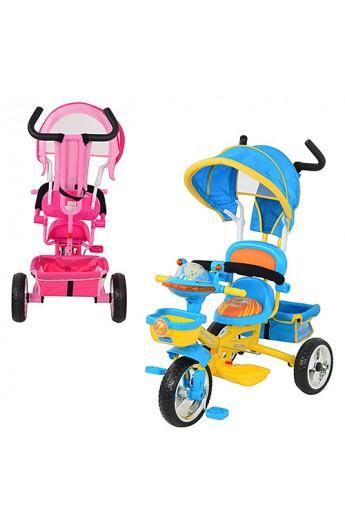 Велосипед B29-1B-1 три колеса, 2 кольори: рожевий, блакитний, м'яке сидіння, посилена ручка, сумка,