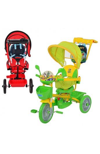 Велосипед ET A18-9-2 три колеса, мет., 2 кольори: червоний, зелений, колясочна ручка, рюкзак, муз.,
