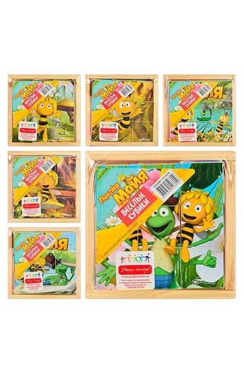 Гра логіка, дерев'яна, кубики 9 шт., Бджілка Майя, GT 6288