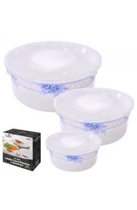 Набір салатників з кришкою стеклокераміка 3шт/наб, MS-1098-4576