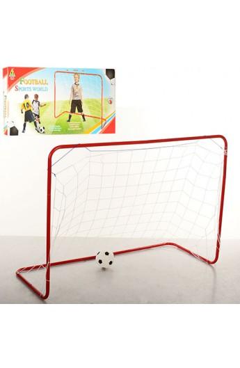 Футбольні ворота M 3361 (18шт) 120-85-50см, метал, сітка, м'яч, в кор-ке, 66,5-30,5-4см.