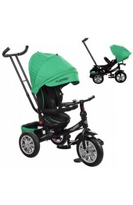 Велосипед M 3646A-4 3 гум. кол., колясочний, поворот, кермо трансформер, зелений.