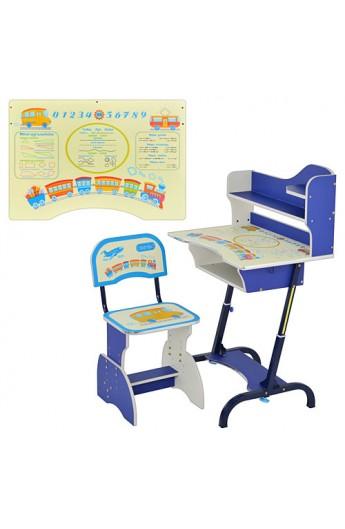 Парта HB 2072-01-7 регулюється висота, стілець, синя, кор., 48-71-105 см
