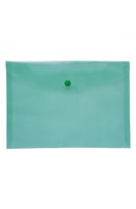 /Папка-конверт А5 на кнопці JOBMAX, прозора, зелений