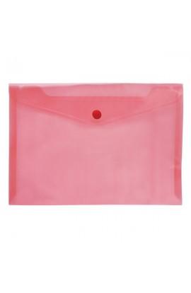 /Папка-конверт А5 на кнопці JOBMAX, прозора, червоний