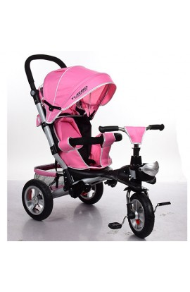 Велосипед M 3647A-10 3 гум. кол., колясочний, кошик, ніжно-рожевий.