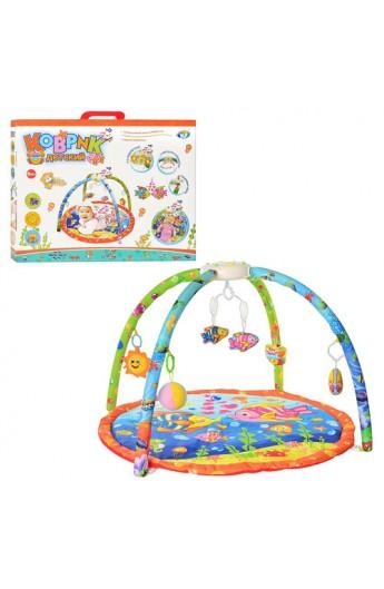 Килимок для немовляти 898-40 A-B дуги, підвіски, муз., світло, бат., кор., 63-51-7 см