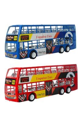 Автобус XY968 інерц., двоповерховий, 3 види, кул., 38-13,5-8,5 см.