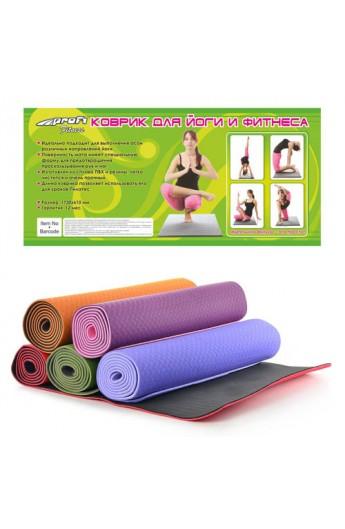 Мат для йоги MS 0614  5 кольорів, 6 мм, 183-61 см, кул., 61-12см