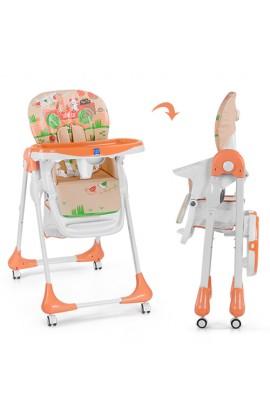 Стільчик M 3234-5 для годування, ремені безпеки, столик висув., 4 колеса, шкіра, машина, помаранчеви