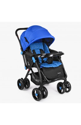 Візок дитячий M 3655-4 прогулянковий, книжка, перекидна ручка, колеса 4 шт., синій