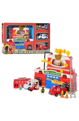 Гра 12636 пожежна станція, транспорт 3 шт., фігурки 4 шт., муз., світло,  бат., кор., 63-39,5-11 см