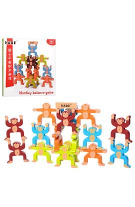 Дерев'яна іграшка Гра MD 1189 тримати рівновагу, фігурки-мавпочки, кор., 27-28-2,5 см.